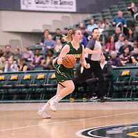 5th year guard Sara Hubenig (7) of the Regina Cougars in action during the Women's Basketball Playoff Game on February  16 at Centre for Kinesiology, Health and Sport. Credit: Arthur Ward/Arthur Images