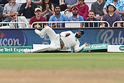Indian fielder collides with the ropes during the 3rd International Test Match 2018 match between England and India at Trent Bridge, West Bridgford, United Kingdon on 21 August 2018.
