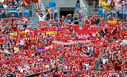 CHARLOTTE, USA - Sunday, July 22, 2018: Liverpool supporters hold up a scarves before a preseason International Champions Cup match between Borussia Dortmund and Liverpool FC at the  Bank of America Stadium. (Pic by David Rawcliffe/Propaganda)