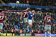 Aston Villa defender (on loan from AFC Bournemouth) Tyrone Mings (40) heads the ball  under pressure from Birmingham City striker Lukas Jutkiewicz (10) during the EFL Sky Bet Championship match between Birmingham City and Aston Villa at St Andrews, Birmingham, England on 10 March 2019.