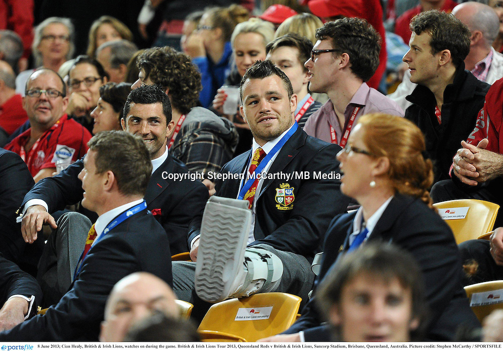 8 June 2013; Cian Healy, British & Irish Lions, watches on during the game. British & Irish Lions Tour 2013, Queensland Reds v British & Irish Lions, Suncorp Stadium, Brisbane, Queensland, Australia. Picture credit: Stephen McCarthy / SPORTSFILE