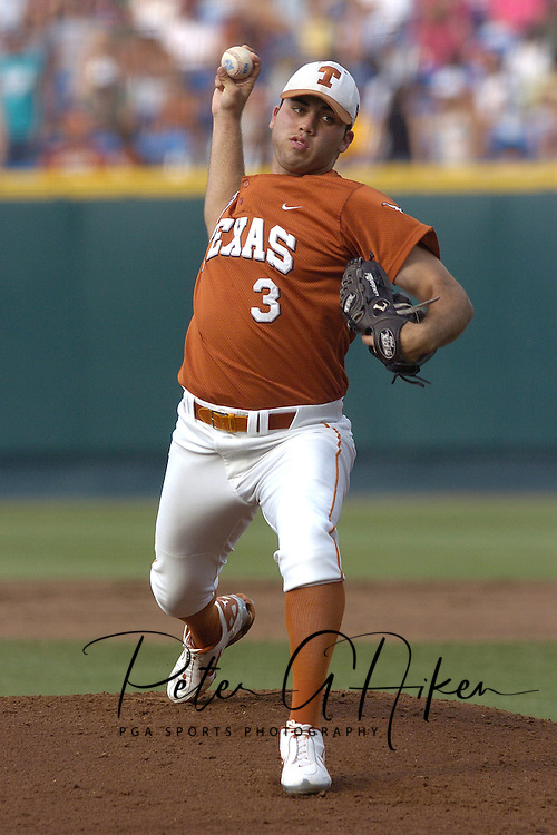 Texas starting pitcher Adrian Alaniz pitched seven innings, giving up two runs and got the win for the Longhorns against the Florida Gators.  Texas defeated Florida 4-2 in game one of the Championship Series of the College World Series at Rosenblatt Stadium in Omaha, Nebraska on June 25, 2005.