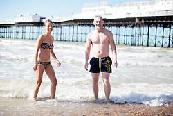 UK ENGLAND BRIGHTON 8SEP16 - Mimmi Elvinsson (40)  of Sweden und Miguel Fernandez Castillo (47) of Madrid enjoy the Brighton beach front.<br /> <br /> jre/Photo by Jiri Rezac<br /> <br /> © Jiri Rezac 2016