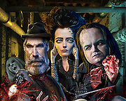 "Explorer Sir Malcolm Murray (Timothy Dalton), possessed Vanessa Ives (Eva Green), Frankenstein's ""The Creature"" (Rory Kinnear) combat in supernatural struggles in Victorian London. Photoshop. Originally created for Penthouse TV Review."