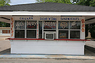 Southern-style fast food restaurant stands where childhood home of Harper Lee, author of To Kill a Mockingbird, once was; Monroeville, Alabama.