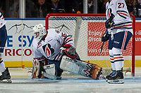 KELOWNA, CANADA - SEPTEMBER 22: Kyle Dumba #35 of the Kamloops Blazers defends the net against the Kelowna Rockets on September 22, 2017 at Prospera Place in Kelowna, British Columbia, Canada.  (Photo by Marissa Baecker/Shoot the Breeze)  *** Local Caption ***