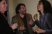 Antonia Phillips, Craig Raine and  Eleni Mealagro. Book party for 'Saturday' by Ian McEwan, Polish Club, South Kensington.  4 February 2005. ONE TIME USE ONLY - DO NOT ARCHIVE  © Copyright Photograph by Dafydd Jones 66 Stockwell Park Rd. London SW9 0DA Tel 020 7733 0108 www.dafjones.com