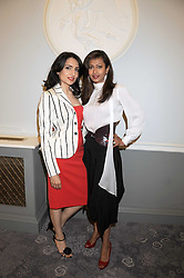 Left to right, RENU MEHTA and FARHEEN KHAN ALLSOPP at a dinner hosted by the Fortune Forum at The Dorchester, Park Lane, London W1 on 2nd July 2008.<br />