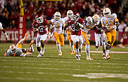 Nov 12, 2011; Fayetteville, AR, USA;  Arkansas Razorback running back Dennis Johnson (33) runs the ball for a touchdown as wide receiver Julian Horton (2) follows and Tennessee Volunteers defensive backs Byron Moore (3) Rod Wilks (22) and A.J. Johnson (45) pursue during the first half at Donald W. Reynolds Razorback Stadium. Arkansas defeated Tennessee 49-7. Mandatory Credit: Beth Hall-US PRESSWIRE