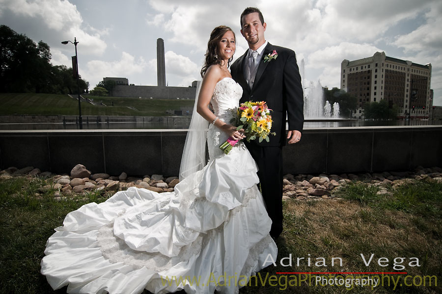On a hot humid day, we went out to Union Station in Kansas to get some amazing wedding pictures. Worth the heat.