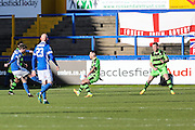 Macclesfield's David Whitehead shoots at goal scores a goal 1-0 during the FA Trophy match between Macclesfield Town and Forest Green Rovers at Moss Rose, Macclesfield, United Kingdom on 4 February 2017. Photo by Shane Healey.