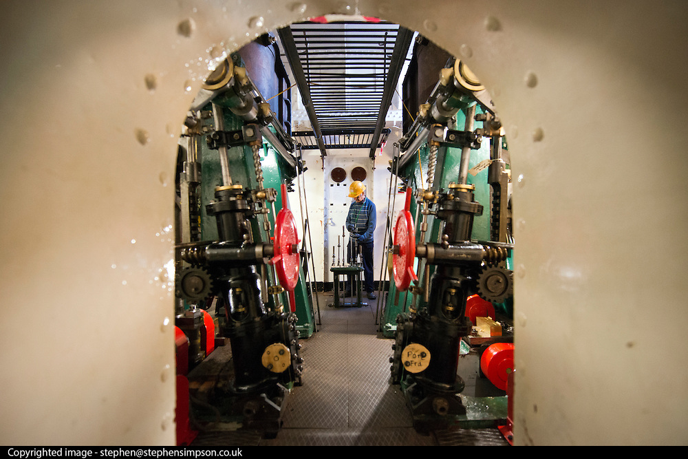 ****COPY HERE****  (https://www.dropbox.com/s/5mg81qiiuy22tre/adamson.rtf?dl=0)   © Licensed to London News Pictures. 02/12/2014. Liverpool , UK . Volunteer John Churchill in the partially restored engine room. The only surviving steam powered tug tender, the Daniel Adamson, is being completely renovated by a team of volunteers in Liverpool. The vessel, which has had 90,000 man hours already spent on it, was bought for only one pound is the awaiting the decision of the Heritage LotteryFund on an application of £3.6m to bring her back to her full glory.  . Photo credit : Stephen Simpson/LNP<br /> <br /> COPY HERE https://www.dropbox.com/s/5mg81qiiuy22tre/adamson.rtf?dl=0
