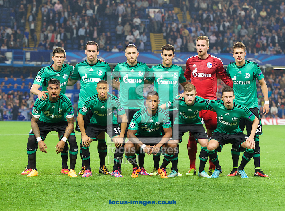 The FC Schalke 04 team before the UEFA Champions League match at Stamford Bridge, London<br /> Picture by Alan Stanford/Focus Images Ltd +44 7915 056117<br /> 17/09/2014