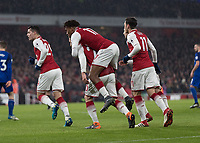 Football - 2017 / 2018 Premier League - Arsenal vs. Everton<br /> <br /> Arsenal players celebrate after scoring the second goal at The Emirates.<br /> <br /> COLORSPORT/DANIEL BEARHAM