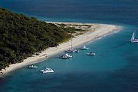 aerial view of Buck Island pleasure boats St. Croix, United States Virgin Islands,