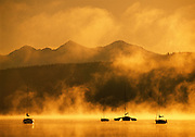 Golden Morning on Lake Dillon with Sailboats-horizontal