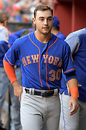 PHOENIX, AZ - MAY 16:  Michael Conforto #30 of the New York Mets walks through th dugout during the MLB game against the Arizona Diamondbacks at Chase Field on May 16, 2017 in Phoenix, Arizona. The Arizona Diamondbacks won 5-4.  (Photo by Jennifer Stewart/Getty Images)