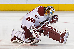 Mar 24, 2012; San Jose, CA, USA; Phoenix Coyotes goalie Mike Smith (41) warms up before the game against the San Jose Sharks at HP Pavilion.  San Jose defeated Phoenix 4-3 in shootouts. Mandatory Credit: Jason O. Watson-US PRESSWIRE