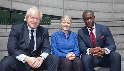 © licensed to London News Pictures. London, UK  05/07/2011. London Mayor Boris Johnson and Apprenticeship Ambassador Tim Campbell with Shauni O'Neill, of Transport for London, who was awarded the London Apprentice of the Year Award. Mayor of London Boris Johnson was joined by more than 150 apprentices and employers to celebrate beating his target of creating 20,000 apprenticeship opportunities in the capital. Working in partnership with the National Apprenticeship Service (NAS), the Mayor's campaign has seen a total of 28,120 people finding places on schemes with companies across a wide range of the capital's business sectors. The 20,000 target has been smashed three months early and by almost 50 per cent. Please see special instructions for usage rates. Photo credit should read Bettina Strenske/LNP