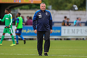 AFC Wimbledon manager Wally Downes walking off pitch during the EFL Sky Bet League 1 match between AFC Wimbledon and Wycombe Wanderers at the Cherry Red Records Stadium, Kingston, England on 31 August 2019.