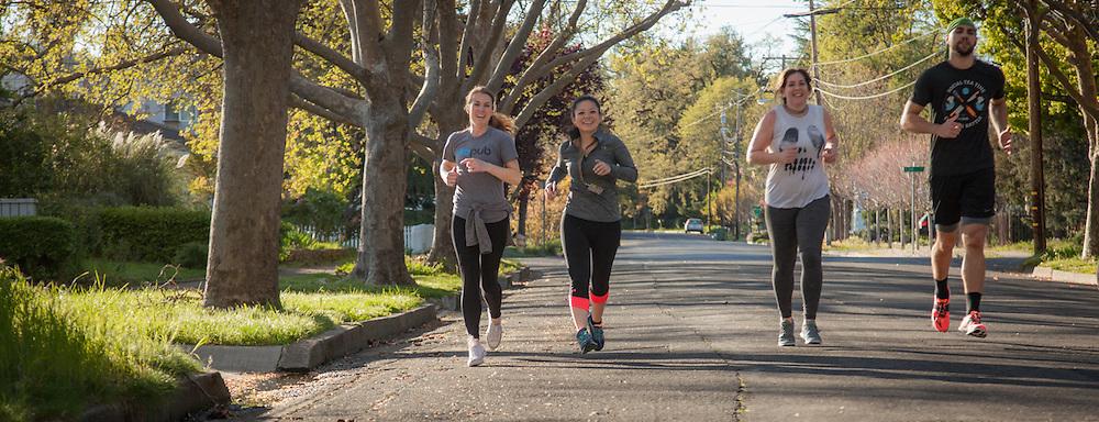 Joggers on Cedar Stree in Calistoga