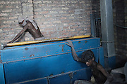 Kanpur leather factory along the ganges river side. Kanpur is one of the most polluted city in India, June 2011..Five hundred million people, about 8 percent of the world's population, live in the Ganges basin. 