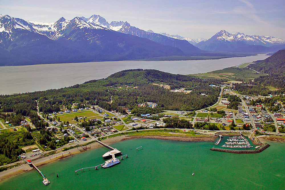 Alaska, Haines. Aerial view of Nakhu Bay and the Lynn Canal