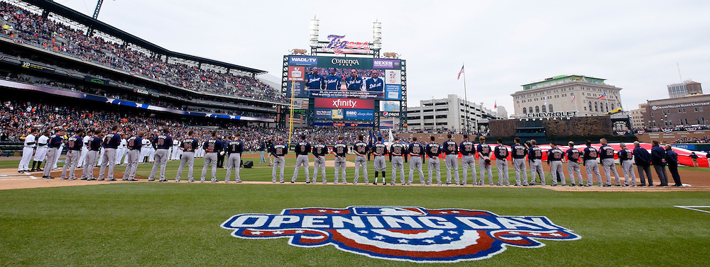 Apr 6, 2015; Detroit, MI, USA; General view as the Four Tops perform the national anthem before the game between the Detroit Tigers and the Minnesota Twins at Comerica Park. Mandatory Credit: Rick Osentoski-USA TODAY Sports