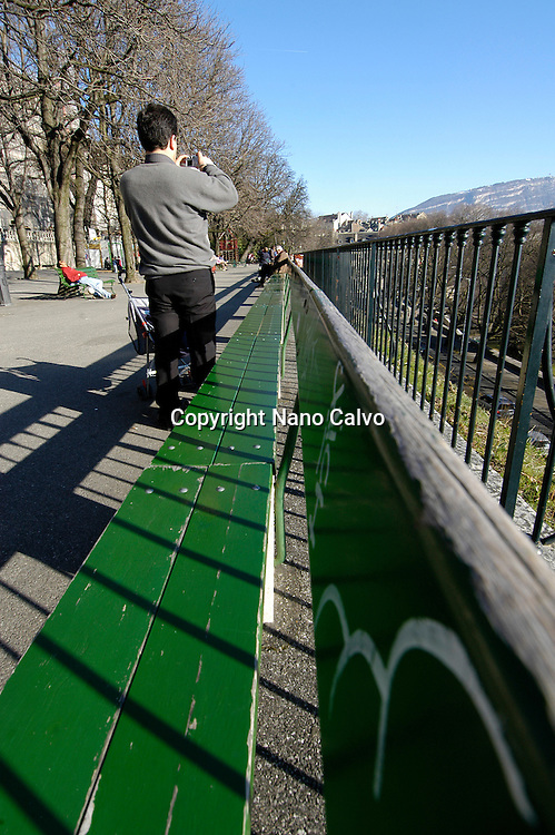 Longest wood bench in the world, Geneva, Switzerland