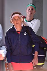 06.06.2017, Roland Garros, Paris, FRA, WTA Tour, French Open, im Bild Timea Bacsinszky (SUI), Kristina Mladenovic (FRA) // Timea Bacsinszky (SUI), Kristina Mladenovic (FRA) during the French Open Tournament of the WTA Tour at the Roland Garros in Paris, France on 2017/06/06. EXPA Pictures © 2017, PhotoCredit: EXPA/ Vianney Thibaut