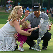 August 24, 2014:  Hunter Mahan (USA) wife reacts after their daughter Zoe tips over the Barclays trophy as they celebrate  after wining  the final round of The Barclays Fed Ex  Championship at Ridgewood Country Club in Paramus, NJ. Mandatory Credit:  Kostas Lymperopoulos/csm  (Credit Image: © Kostas Lymperopoulos/Cal Sport Media)