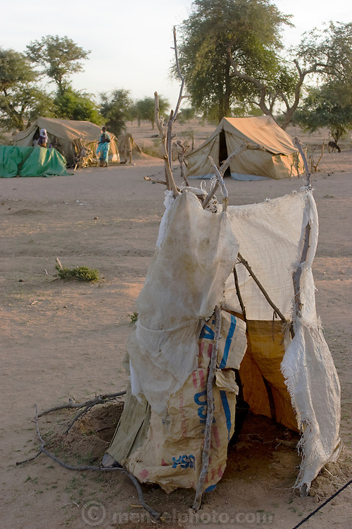 A makeshift tent shower used by Abdel Karim Aboubakar's family in the Breidjing Refugee Camp in Eastern Chad. (Abdel Karim Aboubakar is featured in the book What I Eat: Around the World in 80 Diets.)