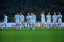 05.02.2019, Signal Iduna Park, Dortmund, GER, DFB Pokal, Borussia Dortmund vs SV Werder Bremen, Achtelfinale, im Bild jubelnde Bremer nach pariertem Schuss von Jiri Pavlenka (SV Werder Bremen #1), hier, von links, Martin Harnik (SV Werder Bremen #9), Claudio Pizarro (SV Werder Bremen #4), Sebastian Langkamp (SV Werder Bremen #15), Ludwig Augustinsson (SV Werder Bremen #5), Johannes Eggestein (SV Werder Bremen #24), Kevin Möhwald / Moehwald (SV Werder Bremen #6), Maximilian Eggestein (SV Werder Bremen #35), Max Kruse (SV Werder Bremen #10), Davy Klaassen (SV Werder Bremen #30) und Niklas Moisander (SV Werder Bremen #18) // during the German Pokal round of 16 match between Borussia Dortmund and SV Werder Bremen at the Signal Iduna Park in Dortmund, Germany on 2019/02/05. EXPA Pictures © 2019, PhotoCredit: EXPA/ Andreas Gumz<br /> <br /> *****ATTENTION - OUT of GER*****