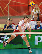 LODZ, POLAND - SEPTEMBER 16: Dawid Konarski of Poland serves the ball during the FIVB World Championships match between Poland and Brazil on September 16, 2014 in Lodz, Poland. (Photo by Piotr Hawalej)