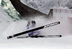 Thomas Morgenstern of Austria felt at Normal Hill Individual Ski jumps at FIS Nordic World Ski Championships Liberec 2008, on February 21, 2009, in Jested, Liberec, Czech Republic. (Photo by Vid Ponikvar / Sportida)