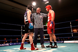 UK ENGLAND LONDON 2DEC04 - Boxers Stuart Leigh (Blue) and Ben Burville are explained the rules by the referee prior to their fight at the 4th Real Fight Club City Broker Christmas Bash at the London Mariott Hotel, Mayfair. The high-adrenaline contact sport of White Collar Boxing originated in New York 17 years ago and attracts mostly young males from the financial, legal and medical professions.....jre/Photo by Jiri Rezac ....© Jiri Rezac 2004....Contact: +44 (0) 7050 110 417..Mobile:  +44 (0) 7801 337 683..Office:  +44 (0) 20 8968 9635....Email:   jiri@jirirezac.com..Web:    www.jirirezac.com....© All images Jiri Rezac 2004 - All rights reserved.