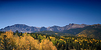 Fall Foliage with Rocky Mountains & Pikes Peak in background