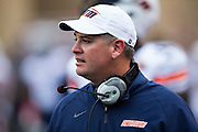 FAYETTEVILLE, AR - OCTOBER 31:  Head Coach Jason Simpson of the UT Martin Skyhawks on the sidelines during a game against the Arkansas Razorbacks at Razorback Stadium on October 31, 2015 in Fayetteville, Arkansas.  The Razorbacks defeated the Skyhawks 63-28.  (Photo by Wesley Hitt/Getty Images) *** Local Caption *** Jason Simpson