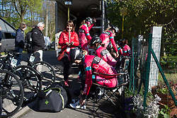 Riders of the Bizkaia-Durango Cycling Team prepare for La Flèche Wallonne Femmes - a 120 km road race, starting and finishing in Huy on April 19, 2017, in Liège, Belgium.