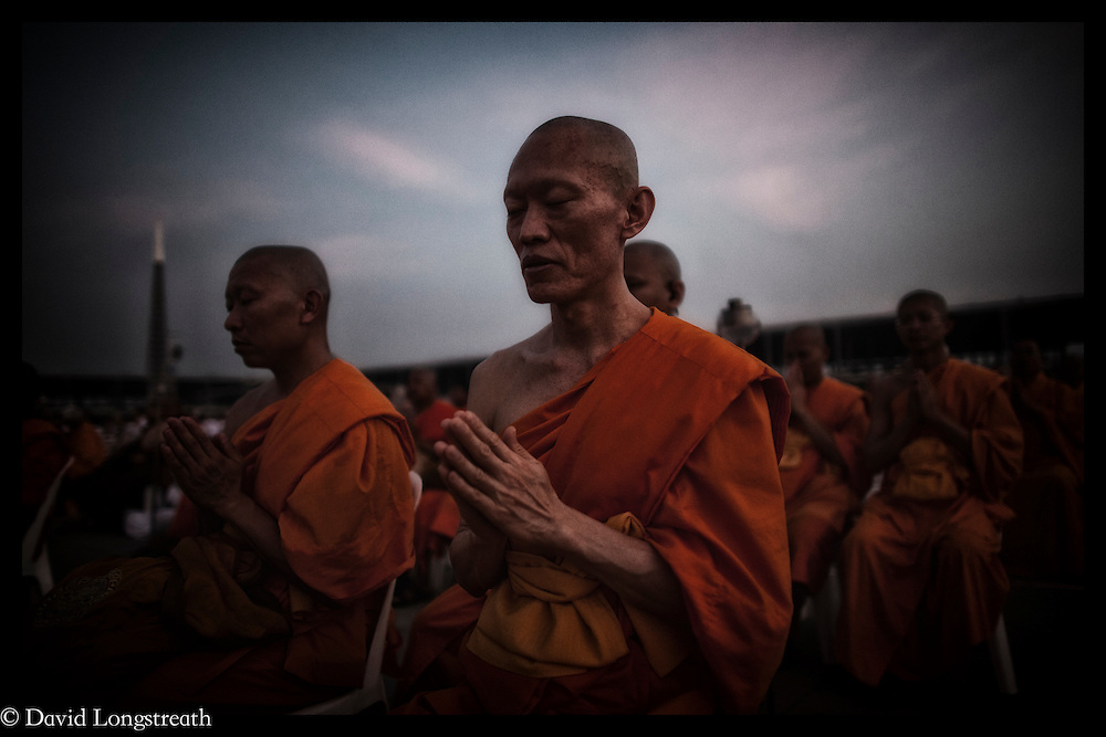 Buddhist monks gather for prayers at Wat Dhammakaya , Feb. 18, 2010, in Bangkok, Thailand.