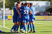 AFC Wimbledon payers celebrate goal during the EFL Sky Bet League 1 match between AFC Wimbledon and Shrewsbury Town at the Cherry Red Records Stadium, Kingston, England on 14 September 2019.