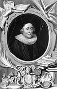 James Ussher (Usher) 1580-1656, Archbishop of Armagh. English churchman. Through scriptural chronology he fixed Creation at 4004 BC. Engraving by George Vertue