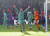 Football - 2018 / 2019 Premier League - Crystal Palace vs. Arsenal<br /> <br /> Shkodran Mustafi celebrates Pierre - Emerick Aubameyang's Arsenal goal after the ball had crossed the line for goal no 2, at Selhurst Park.<br /> <br /> COLORSPORT/ANDREW COWIE