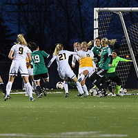 5th year defender Racquel Marshall (15)  and 5th year goalkeeper Kacey McFee (1) of the Regina Cougars  in action during the Women's Soccer home game on October 7 at U of R Field. Credit: Arthur Ward/Arthur Images