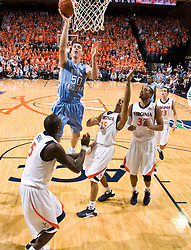 North Carolina forward Tyler Hansbrough (50) shoots a jump shot  against UVA.  The the #5 ranked North Carolina Tar Heels defeated the Virginia Cavaliers 83-61 in NCAA Basketball at the John Paul Jones Arena on the Grounds of the University of Virginia in Charlottesville, VA on January 15, 2009.