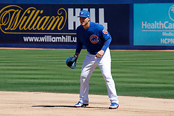 March 18, 2018 - Las Vegas, NV, U.S. - LAS VEGAS, NV - MARCH 18: Anthony Rizzo (44) of the Cubs fields his position during a game between the Chicago Cubs and Cleveland Indians as part of Big League Weekend on March 18, 2018 at Cashman Field in Las Vegas, Nevada. (Photo by Jeff Speer/Icon Sportswire) (Credit Image: © Jeff Speer/Icon SMI via ZUMA Press)
