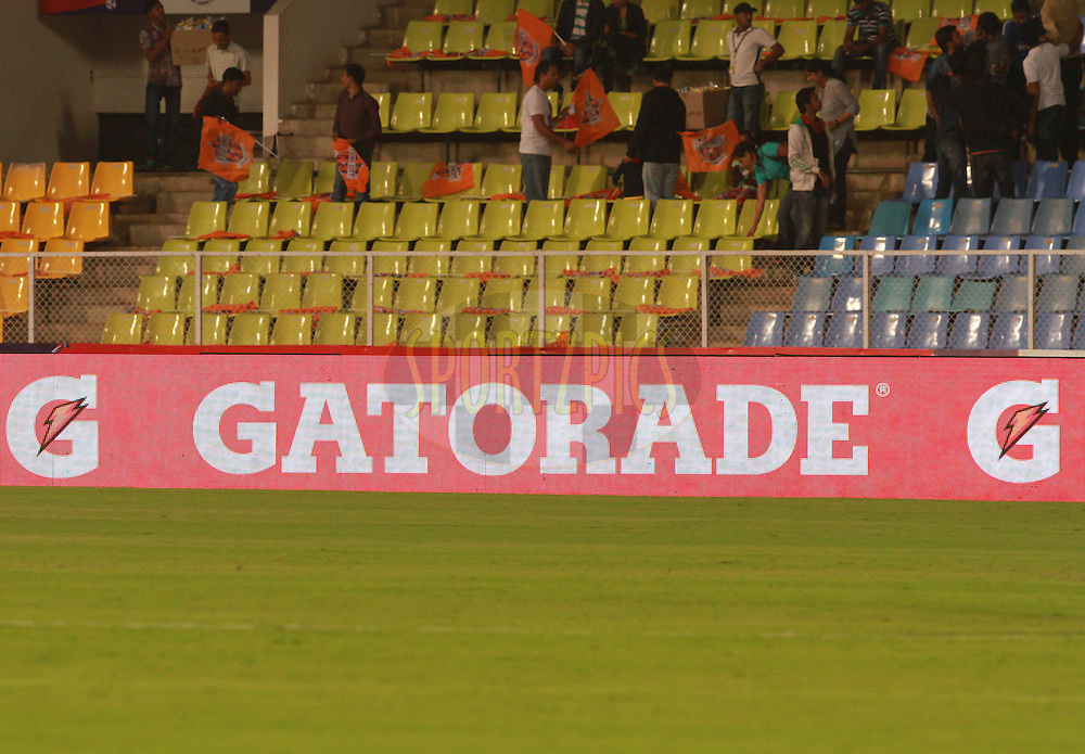 LED boards during match 55 of the Indian Super League (ISL) season 2  between FC Pune City and Chennaiyin FC held at the Shree Shiv Chhatrapati Sports Complex Stadium, Pune, India on the 5th December 2015.<br /> <br /> Photo by Vipin Pawar / ISL/ SPORTZPICS
