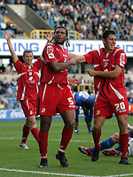 Photo: Rich Eaton.<br /> <br /> Millwall v Swindon Town. Coca Cola League 1. 29/09/2007. Swindon's Jerel Ifil (C) celebrates after heading in a second half goal to make it 2-1.