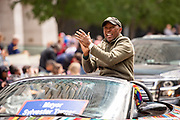 Mayor Sylvester Turner led the 31st annual Art Car Parade in Aurora-Porshie-Alice by Robynn Sanders and Nicole Strine.