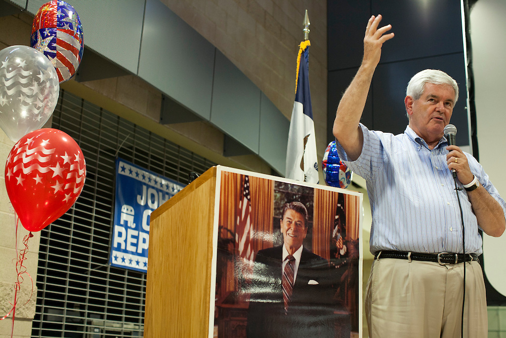 Republican presidential hopeful Newt Gingrich speaks at a fundraiser for the Linn County Republican Party on Friday, August 5, 2011 in Tiffen, IA.